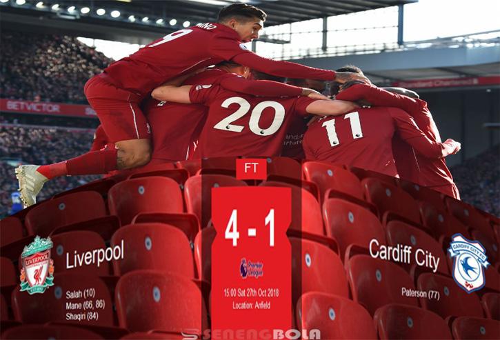 Hasil LIga Inggris : Liverpool Tundukan Cardiff City 4-1 di Anfield